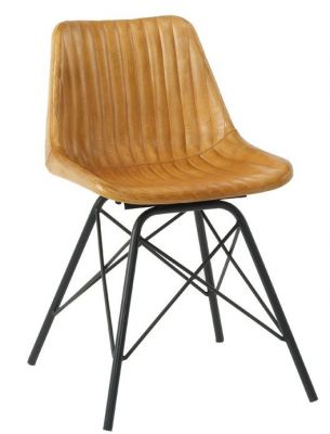 Tiger Vintage Leather Cafe Chair In Light Taan Leather