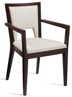 Fleet White Leather Dining Armchair