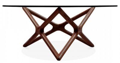 Niga Glass Coffee Table With A Walnut Frame 2