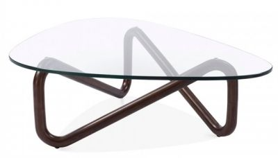 Sika Designer Glass Coffee Table With A Walnut Frame 1