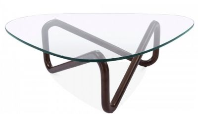 Sika Designer Glass Coffee Table With A Walnut Frame 3