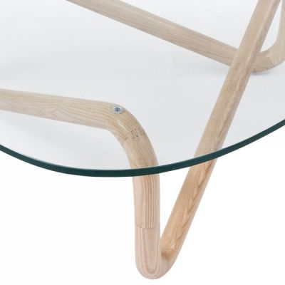 Sika Glass Coffee Table Natural Frame Detail View