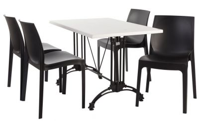 Moby Four Person Outdoor Dining Set With A White Werz Top
