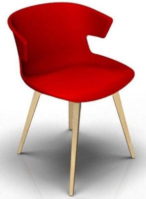Elegante 4 Leg Designer Chair - Red And Beech