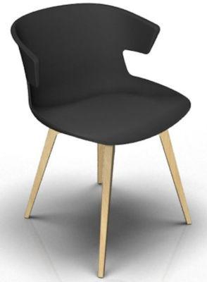 Elegante 4 Leg Designer Chair - Anthracite And Beech