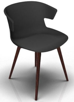 Elegante 4 Leg Designer Chair - Anthracite And Wenge