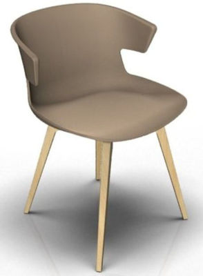 Elegante 4 Leg Designer Chair - Beige And Beech