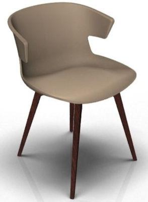 Elegante 4 Leg Designer Chair - Beige And Wenge