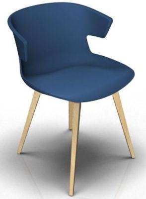 Elegante 4 Leg Designer Chair - Blue And Beech
