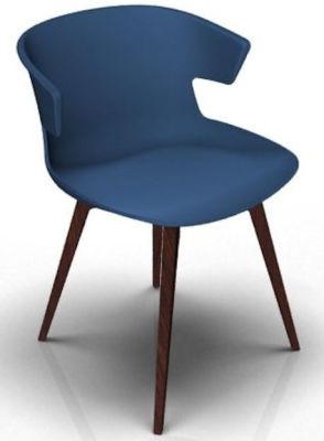 Elegante 4 Leg Designer Chair - Blue And Wenge