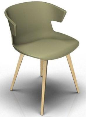 Elegante 4 Leg Designer Chair - Green And Beech
