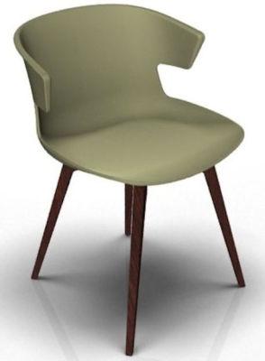 Elegante 4 Leg Designer Chair - Green And Wenge