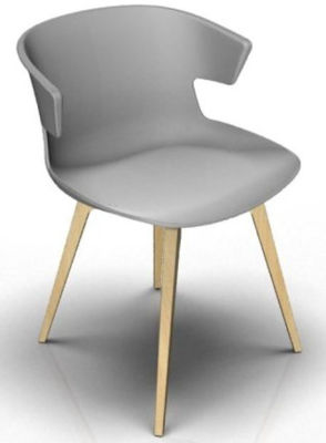 Elegante 4 Leg Designer Chair - Grey And Beech