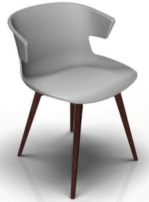 Elegante 4 Leg Designer Chair - Grey And Wenge