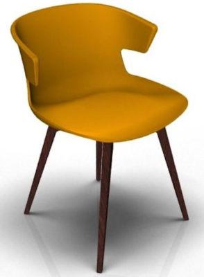 Elegante 4 Leg Designer Chair - Orange And Wenge
