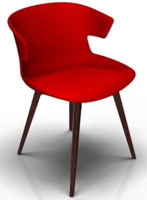 Elegante 4 Leg Designer Chair - Red And Wenge