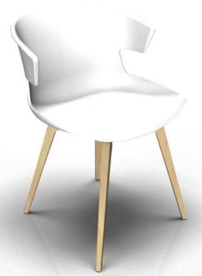 Elegante 4 Leg Designer Chair - White And Beech