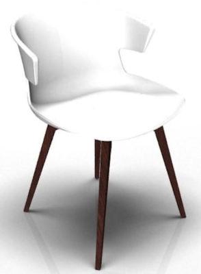 Elegante 4 Leg Designer Chair - White And Wenge