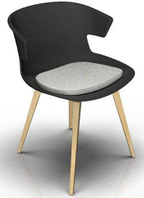 Elegante 4 Leg Designer Chair With Seat Pad - Anthracite And Beech Light Grey