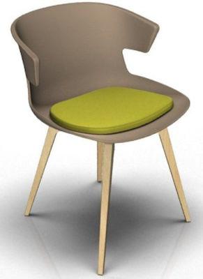 Elegante 4 Leg Designer Chair With Seat Pad - Beige And Beech Green