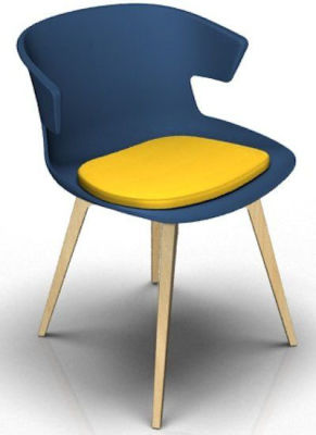 Elegante 4 Leg Designer Chair With Seat Pad - Blue And Wenge Yellow