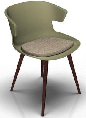 Elegante 4 Leg Designer Chair With Seat Pad - Green And Wenge Beige