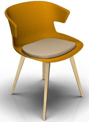 Elegante 4 Leg Designer Chair With Seat Pad - Orange And Beech Beige
