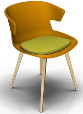 Elegante 4 Leg Designer Chair With Seat Pad - Orange And Beech Green