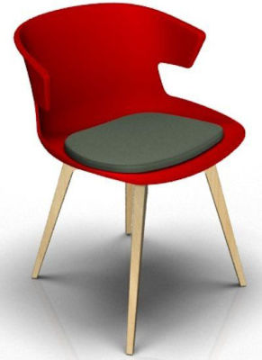 Elegante 4 Leg Designer Chair With Seat Pad - Red And Beech Dark Grey