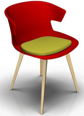 Elegante 4 Leg Designer Chair With Seat Pad - Red And Beech Green