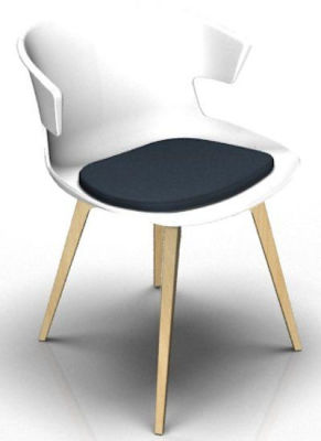 Elegante 4 Leg Designer Chair With Seat Pad - White And Beech Night Blue