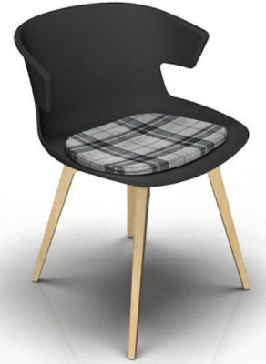 Elegante Designer Chair With Seat Pad - Anthracite And Beech Tartan Grey