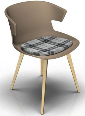 Elegante Designer Chair With Seat Pad - Beige And Beech Tartan Grey