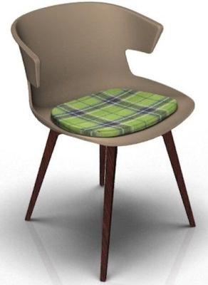 Elegante Designer Chair With Seat Pad - Beige And Wenge Tartan Green