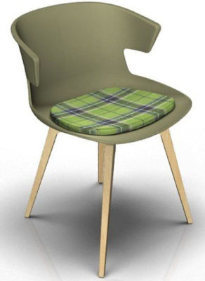 Elegante Designer Chair With Seat Pad - Green And Beech Tartan Green