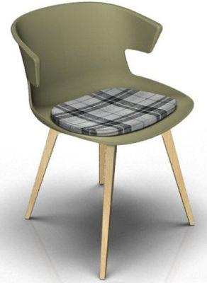 Elegante Designer Chair With Seat Pad - Green And Beech Tartan Grey