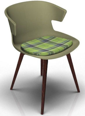 Elegante Designer Chair With Seat Pad - Green And Wenge Tartan Green