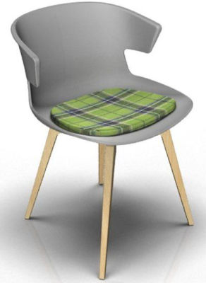 Elegante Designer Chair With Seat Pad - Grey And Beech Tartan Green