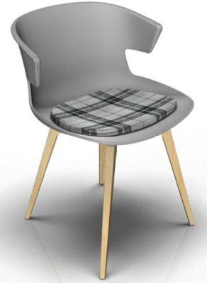 Elegante Designer Chair With Seat Pad - Grey And Beech Tartan Grey