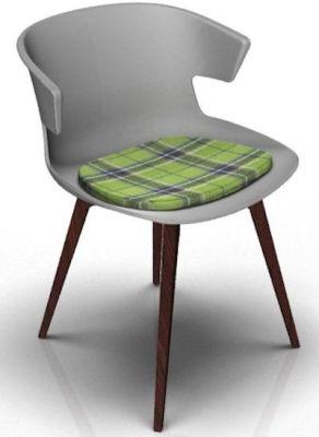 Elegante Designer Chair With Seat Pad - Grey And Wenge Tartan Green