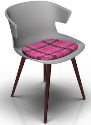 Elegante Designer Chair With Seat Pad - Grey And Wenge Tartan Pink