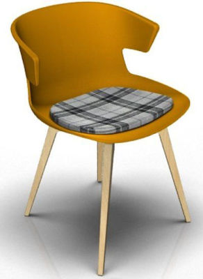 Elegante Designer Chair With Seat Pad - Orange And Beech Tartan Grey