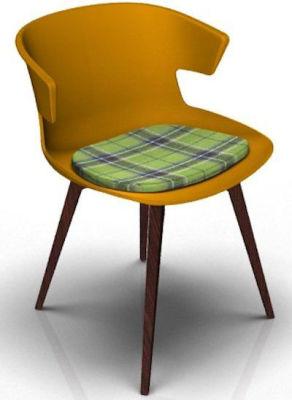 Elegante Designer Chair With Seat Pad - Orange And Wenge Tartan Green