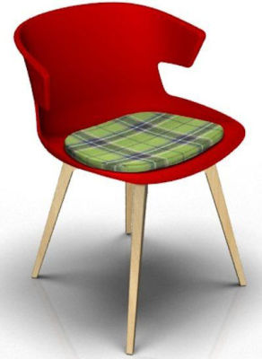 Elegante Designer Chair With Seat Pad - Red And Beech Tartan Green