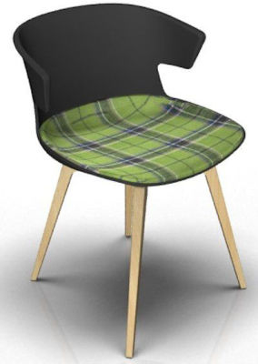 Elegante Chair With Large Seat Pad - Anthracite And Beech Tartan Green