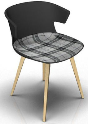 Elegante Chair With Large Seat Pad - Anthracite And Beech Tartan Grey