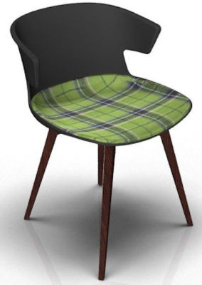 Elegante Chair With Large Seat Pad - Anthracite And Wenge Tartan Green