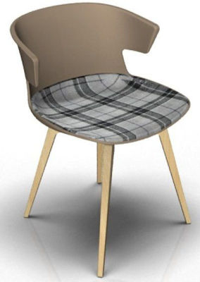 Elegante Chair With Large Seat Pad - Beige And Beech Tartan Grey