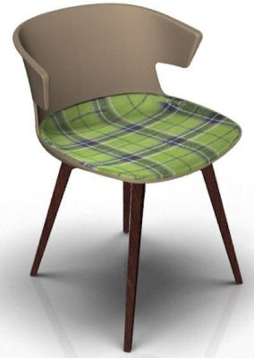 Elegante Chair With Large Seat Pad - Beige And Wenge Tartan Green