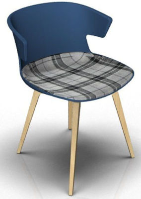 Elegante Chair With Large Seat Pad - Blue And Beech Tartan Grey